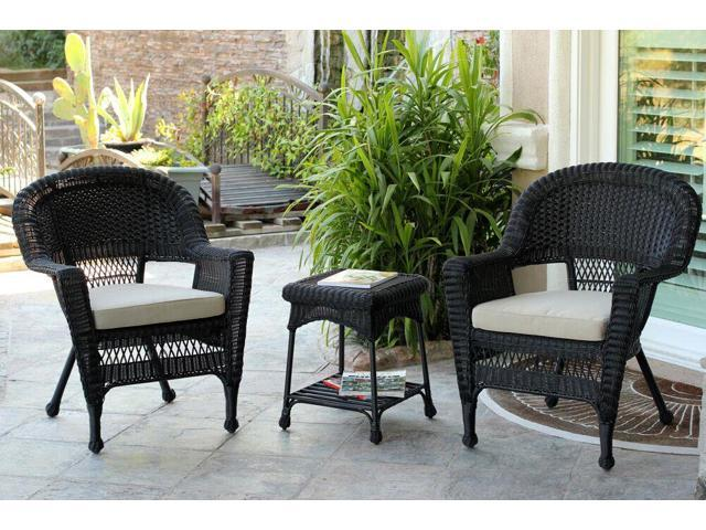 3 Piece Black Resin Wicker Patio Chairs And End Table