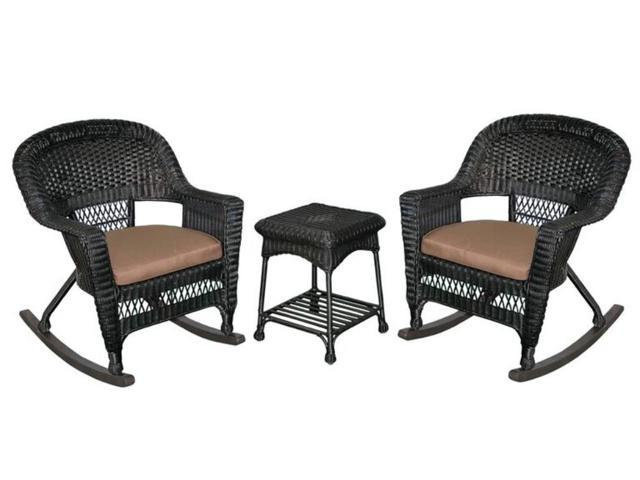 3 Piece Tiana Black Resin Wicker Patio Rocker Chair