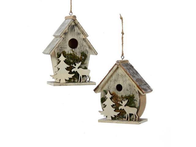 Birdhouse Christmas Tree Ornaments : Club pack of wooden birdhouse with christmas tree and