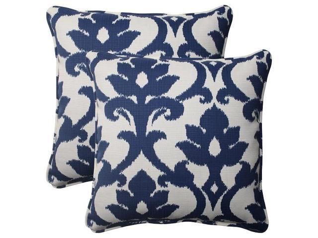 Victorian Outdoor Pillows : Set of 2 Navy Floral Victorian Outdoor Patio Corded Throw Pillows 18.5
