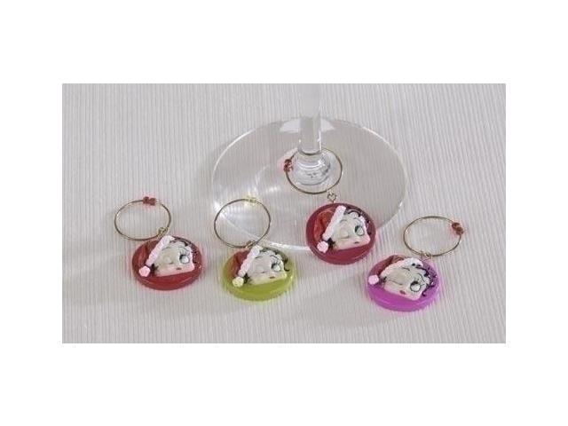 4-Piece Set Holiday Betty Boop Wine Charm Drink Identifiers #23479
