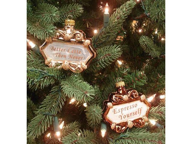 Set Of 2 Coffee Lover Idioms Glass Christmas Ornaments