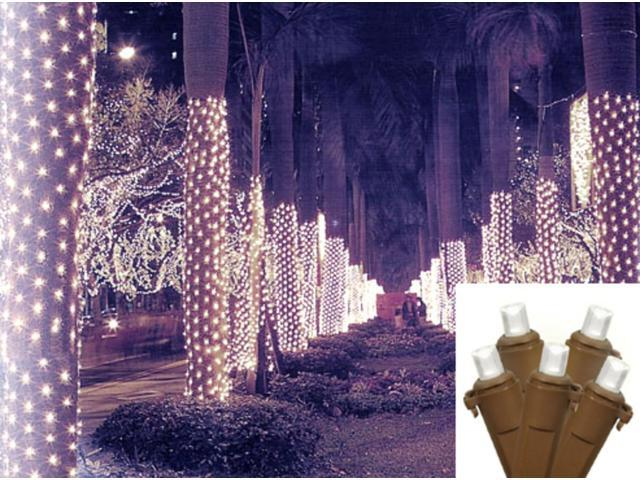 2' x 8' Pure White LED Christmas Net Style Tree Trunk Wrap Lights - Brown Wire