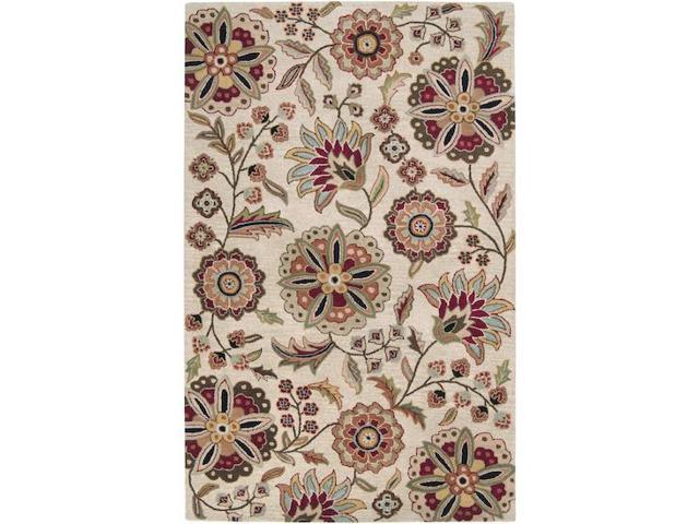 4' x 6' Brahma Kamal Safari Tan and Turtle Green Wool Rectangular Area Throw Rug