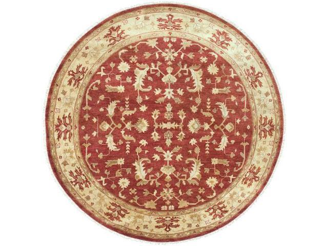 8' Behrouz Venetian Red and Golden Raisin Round Wool Area Throw Rug