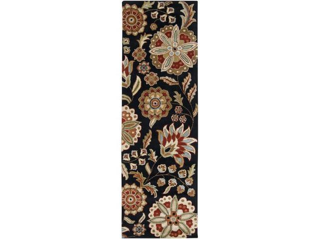 3' x 12' Brahma Kamal Jet Black and Turtle Green Wool Area Runner Throw Rug