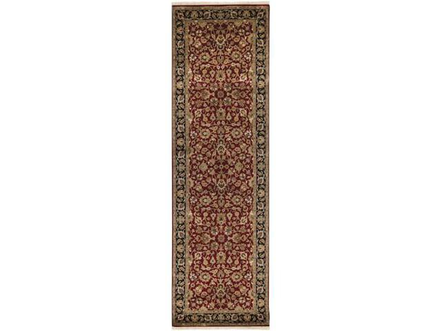 3' x 12' Oxford Burgundy and Coral Wool Rectangular Area Runner Throw Rug