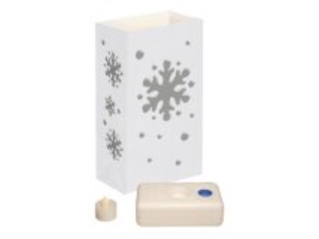 12 Battery Operated LED Flameless Tea Candles Snowflake Christmas Luminaria Kit