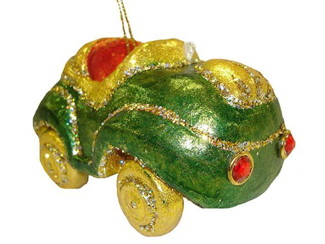 Green Glitter Convertible Car Christmas Ornament