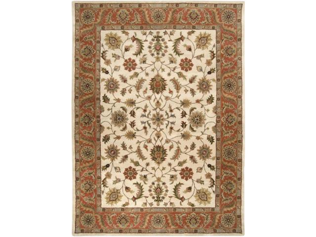 12' x 15' Fresnillo Raw Sienna Orange and Khaki Green Wool Rectangular Area Rug