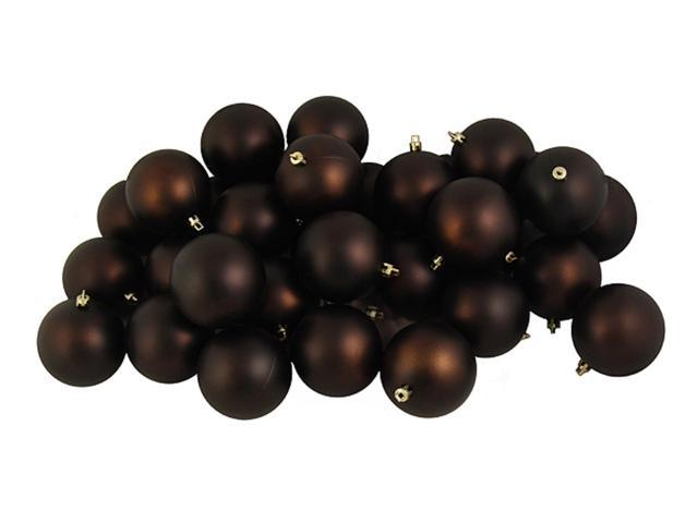60ct Matte Chocolate Brown Shatterproof Christmas Ball Ornaments 2.5
