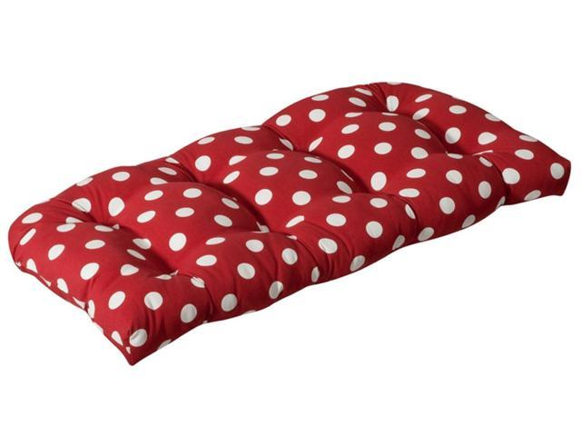 Outdoor Patio Furniture Wicker Loveseat Cushion - Red and White Polka Dot