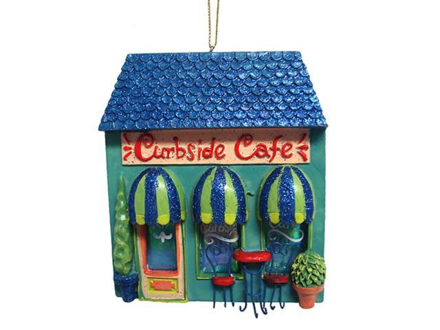 Girly Curbside Cafe Bistro Glittery Christmas Ornament