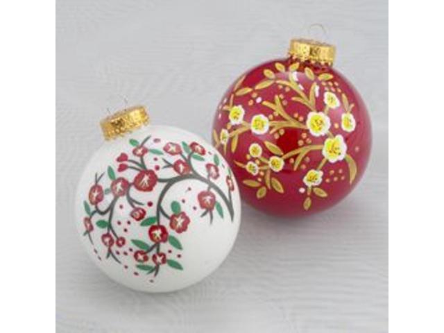 Set of 3 Asian Fusion Cherry Blossom White Glass Ball Christmas Ornaments 3.25