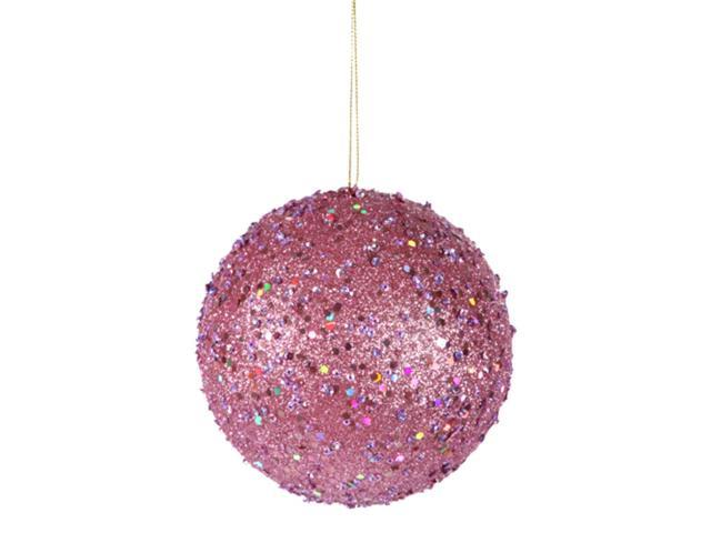 Fancy Carnation Pink Holographic Glitter Drenched Christmas Ball Ornament 4.75