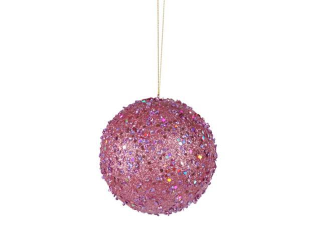 Fancy Carnation Pink Holographic Glitter Drenched Christmas Ball Ornament 3