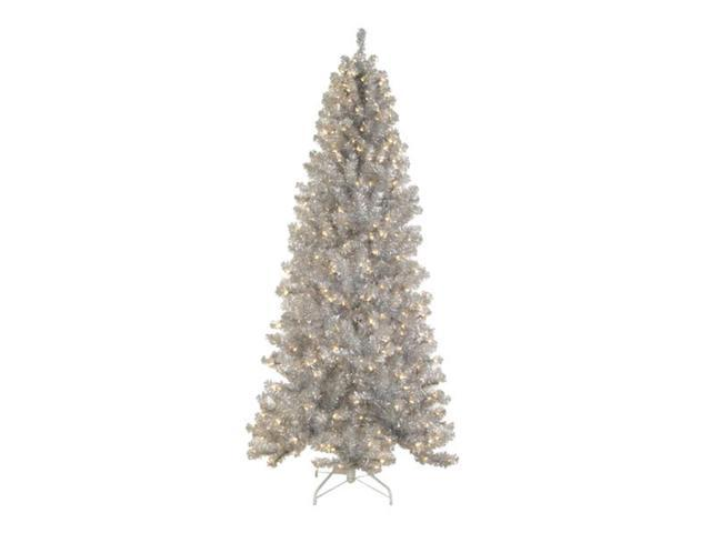 9' Pre-Lit Silver Tinsel Noble Pine Artificial Christmas Tree - Clear Lights