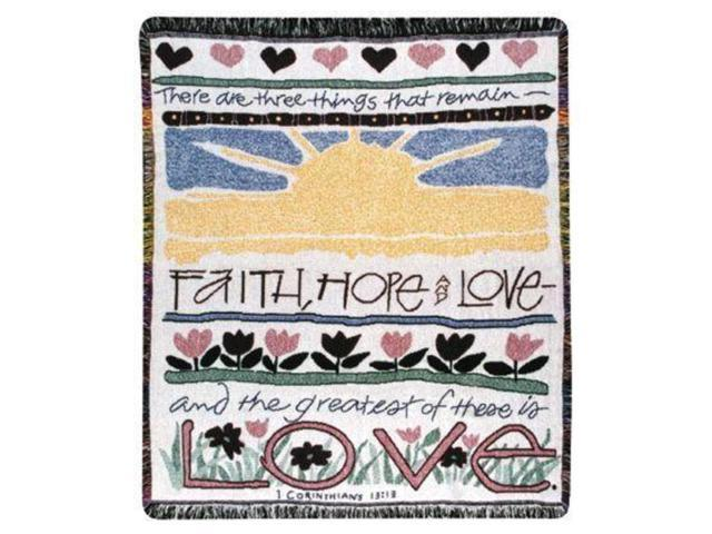 Faith Love Hope 1 Corinthians 13:13 Religious Afghan Throw Blanket 48