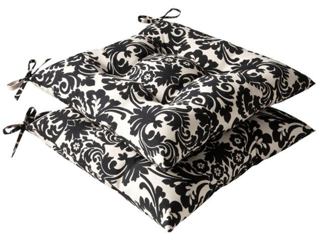 Pack of 2 Outdoor Patio Furniture Tufted Chair Seat Cushions - Dramatic Damask