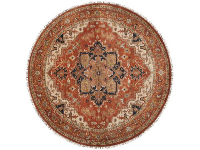 8' Glamorous Youth Midnight Blue and Pecan Wool Round Area Throw Rug