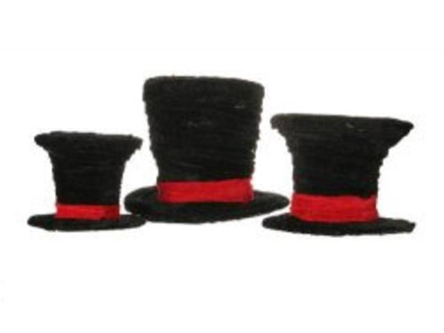Set of 3 Black Velveteen Wrapped Top Hat Christmas Table Decorations 7