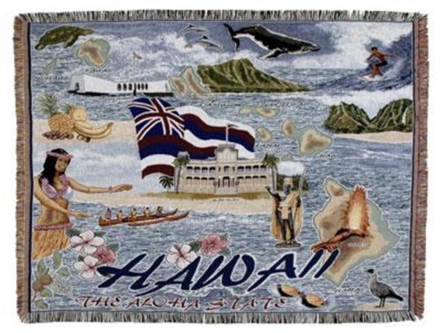 State of Hawaii Afghan Tapestry Throw Blanket 50