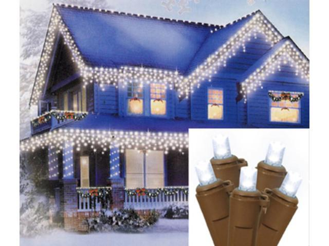 Set of 70 Pure White LED Wide Angle Icicle Christmas Lights - Brown Wire