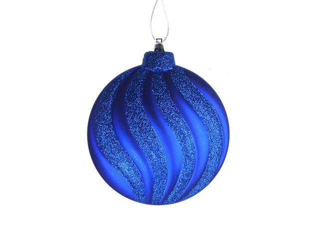 6ct Matte Lavish Blue Swirl Shatterproof Christmas Disc Ornaments 6.25
