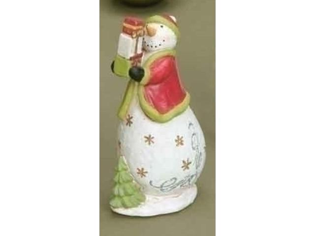 Tis the Season Snowman with Gifts Table Top Christmas Figure