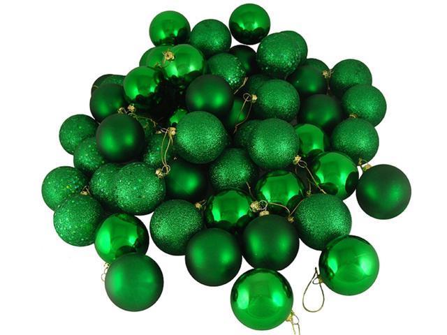 60ct Xmas Green Shatterproof 4-Finish Christmas Ball Ornaments 2.5