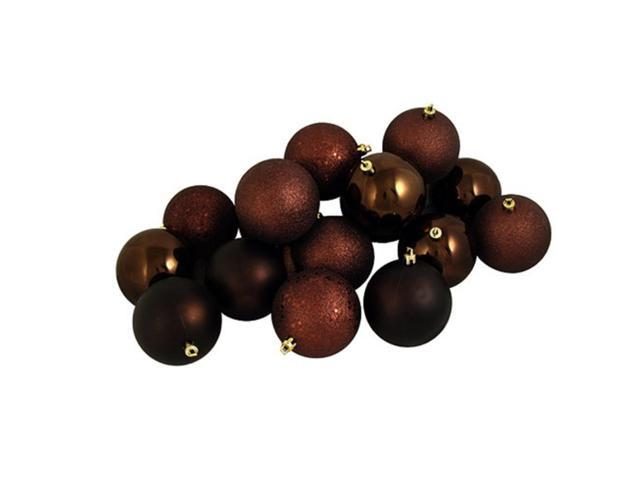 60ct Chocolate Brown Shatterproof 4-Finish Christmas Ball Ornaments 2.5