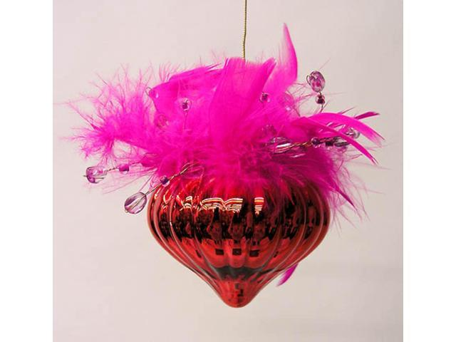 Red Valentine Cone w/ Fur & Gems Christmas Ornament #4112499