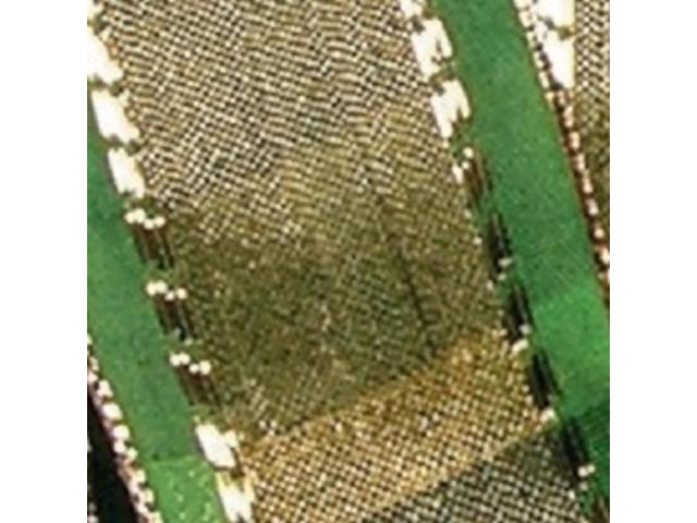 Lime Green and Shimmering Gold French Wired Woven Taffeta VV Decorative Ribbon 1.5