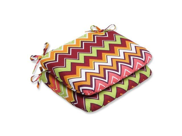 Set of 2 Chevron Surtido Green, Pink and Orange Outdoor Patio Chair Cushions 18.5