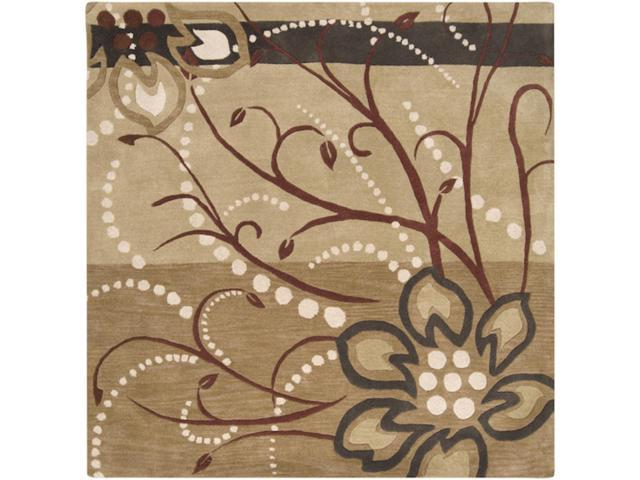 6' x 6' Cannonball Tree Golden Brown and Dark Khaki Wool Square Area Throw Rug