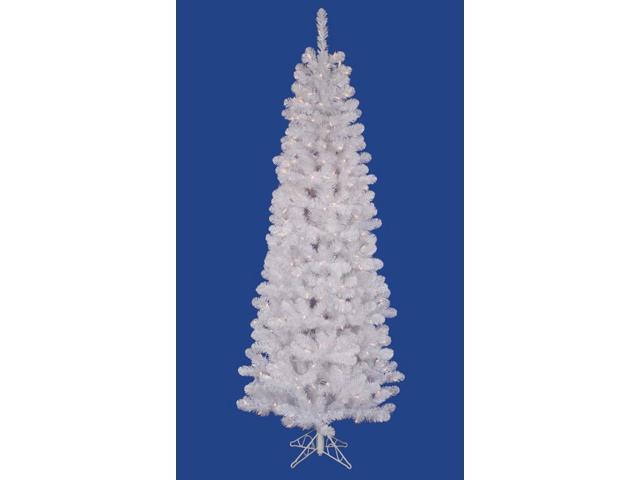 9.5' Pre-Lit White Salem Pine Pencil Artificial Christmas Tree- Clear LED Lights