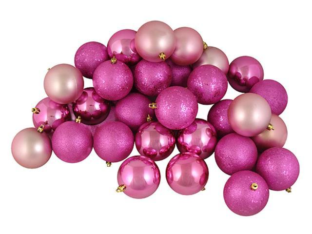 12ct Pretty in Pink Shatterproof 4-Finish Christmas Ball Ornaments 4