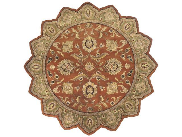 8' Las Margaritas Green and Raw Sienna Orange Wool Star Shaped Area Throw Rug