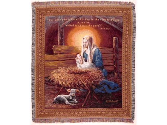 Madonna & Child Manger Scene Christmas Tapestry Throw Blanket 50