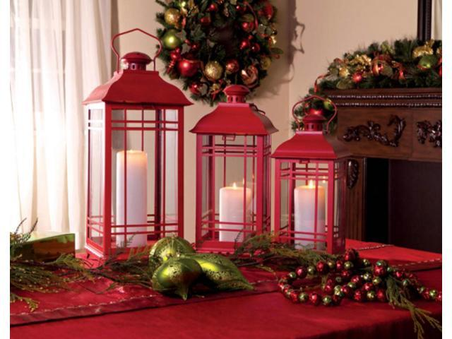 Set of 3 Farm Fresh Red Decorative Metal Pillar Candle Lanterns