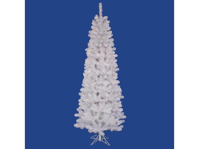 4.5' Prelit LED White Salem Pine Pencil Artificial Christmas Tree - Clear Lights