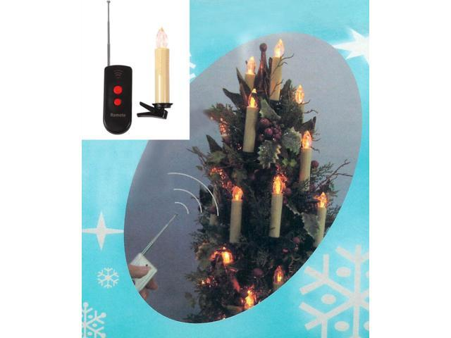 Set of 10 LED Battery Operated Remote Control Magnetic Candle Christmas Lights