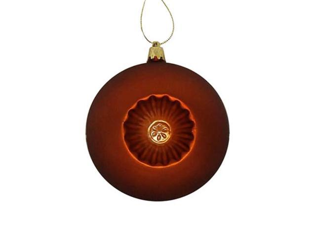 6ct Matte Burnt Orange Retro Reflector Shatterproof Christmas Ball Ornaments 4