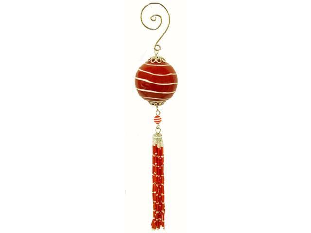 Striped Red Glass Ball Christmas Ornament With Tassel