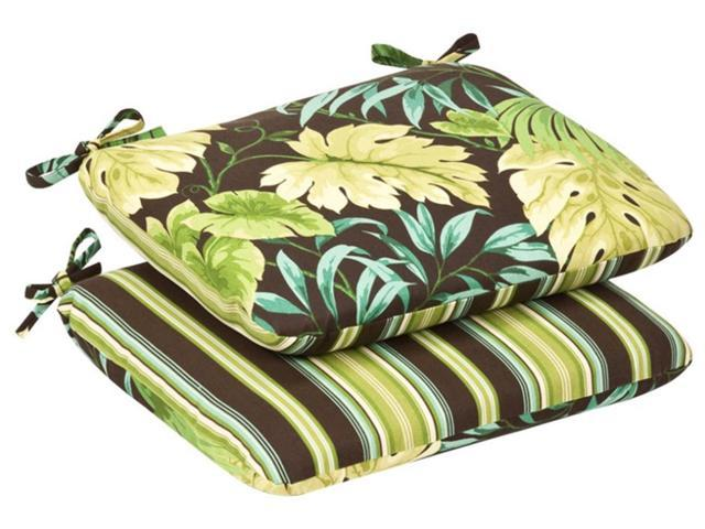 Pack of 2 Outdoor Patio Furniture Chair Seat Cushions - Reversible Green Stripe