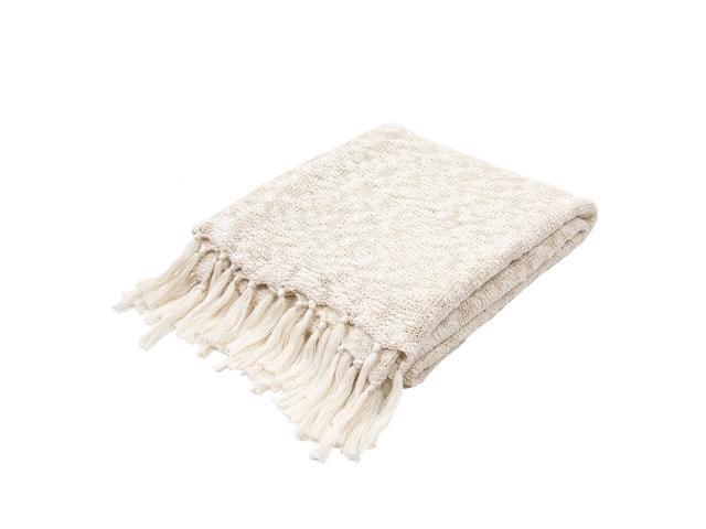 Soft Cream Beige Plush Cotton Woven Fringed Throw Blanket 50