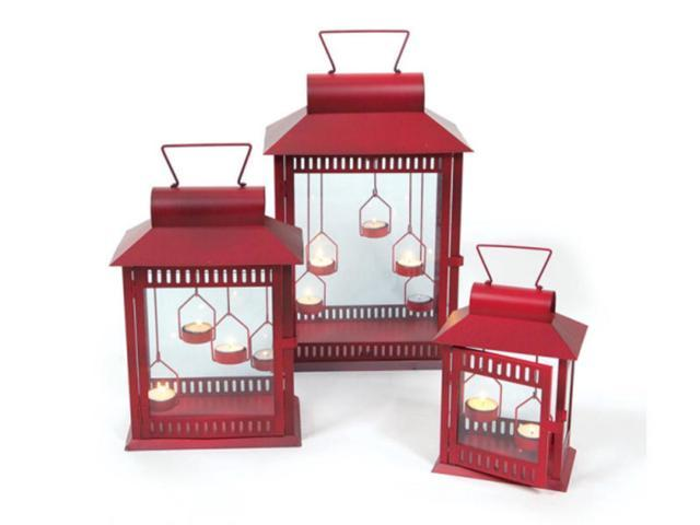 Set of 3 Red Christmas Indoor/Outdoor Tea Light Candle Lanterns 18
