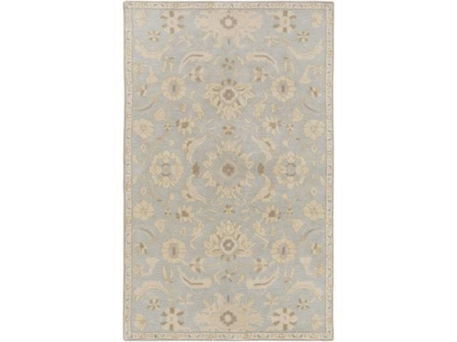 6' X 9' Elegant Leaves Slate Gray And Tan Brown Wool Area