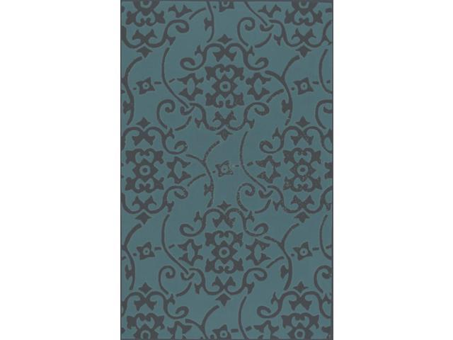 8 39 damask vines dark gray and teal hand tufted plush pile round area throw rug. Black Bedroom Furniture Sets. Home Design Ideas