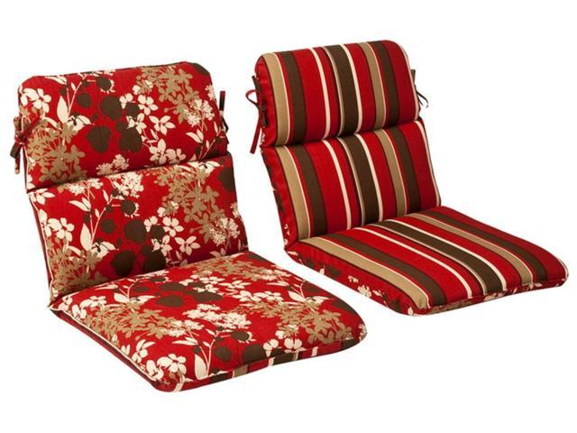 Outdoor Patio Furniture High Back Chair Cushion - Reversible Tropical Red Stripe